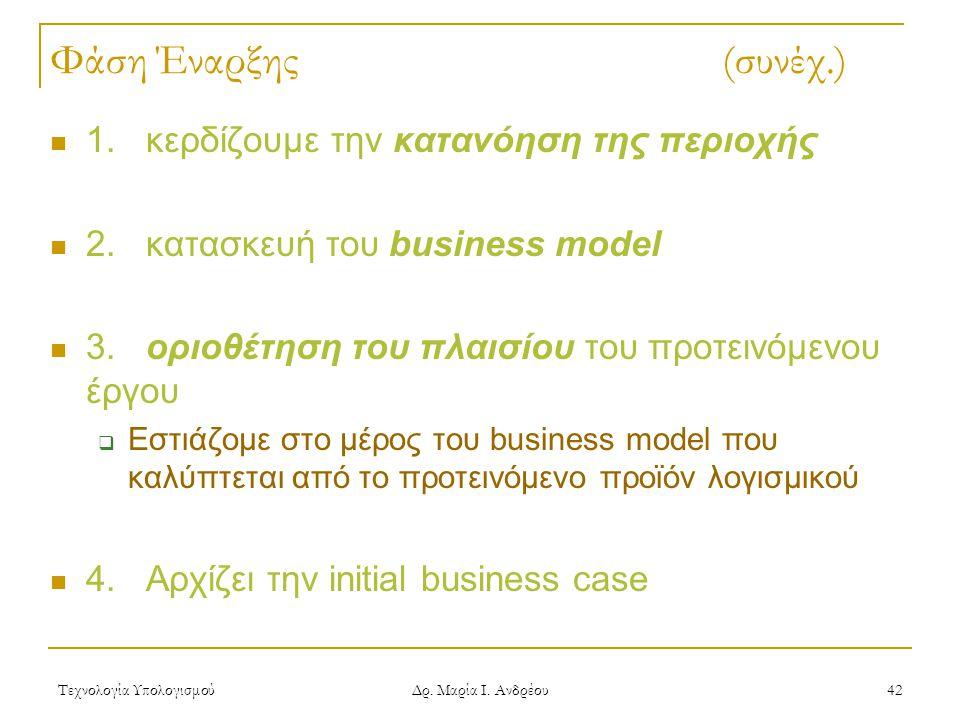 Τεχνολογία Υπολογισμού Δρ. Μαρία Ι. Ανδρέου 42 Φάση Έναρξης (συνέχ.) 1.κερδίζουμε την κατανόηση της περιοχής 2.κατασκευή του business model 3.οριοθέτη