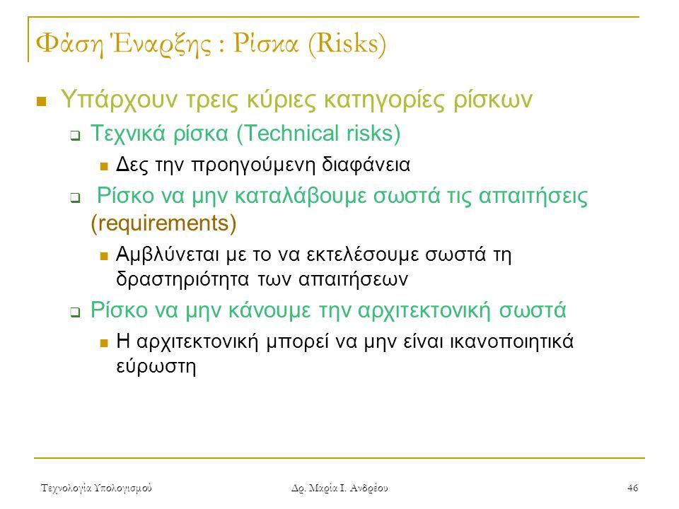 Τεχνολογία Υπολογισμού Δρ. Μαρία Ι. Ανδρέου 46 Φάση Έναρξης : Ρίσκα (Risks) Υπάρχουν τρεις κύριες κατηγορίες ρίσκων  Τεχνικά ρίσκα (Technical risks)