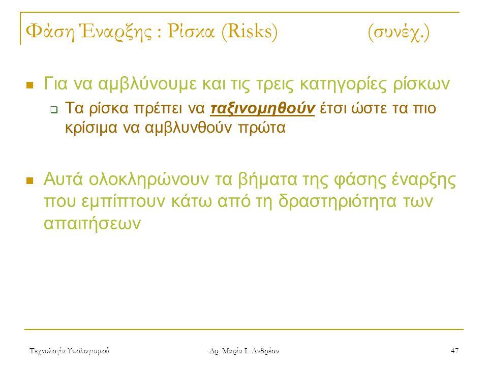 Τεχνολογία Υπολογισμού Δρ. Μαρία Ι. Ανδρέου 47 Φάση Έναρξης : Ρίσκα (Risks)(συνέχ.) Για να αμβλύνουμε και τις τρεις κατηγορίες ρίσκων  Τα ρίσκα πρέπε
