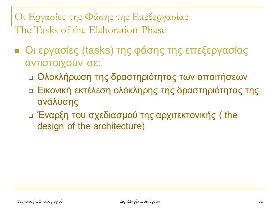Τεχνολογία Υπολογισμού Δρ. Μαρία Ι. Ανδρέου 55 Οι Εργασίες της Φάσης της Επεξεργασίας The Tasks of the Elaboration Phase Οι εργασίες (tasks) της φάσης