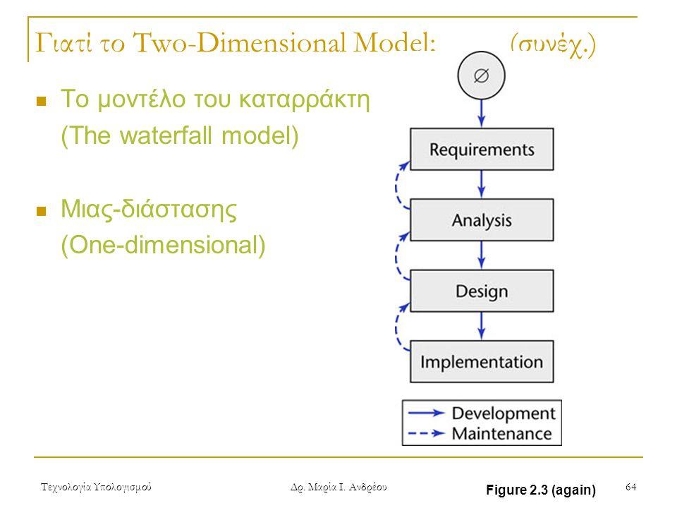 Τεχνολογία Υπολογισμού Δρ. Μαρία Ι. Ανδρέου 64 Γιατί το Two-Dimensional Model; (συνέχ.) Το μοντέλο του καταρράκτη (The waterfall model) Μιας-διάστασης