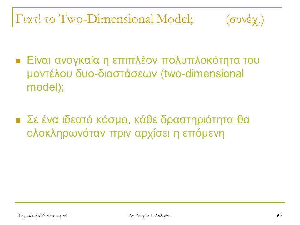 Τεχνολογία Υπολογισμού Δρ. Μαρία Ι. Ανδρέου 66 Γιατί το Two-Dimensional Model; (συνέχ.) Είναι αναγκαία η επιπλέον πολυπλοκότητα του μοντέλου δυο-διαστ