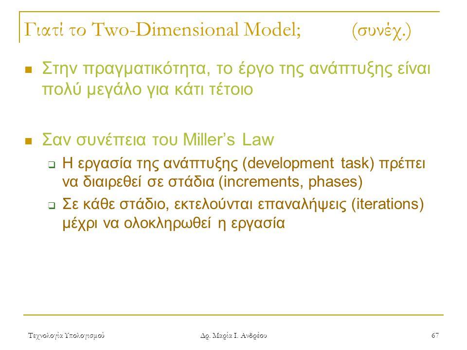 Τεχνολογία Υπολογισμού Δρ. Μαρία Ι. Ανδρέου 67 Γιατί το Two-Dimensional Model; (συνέχ.) Στην πραγματικότητα, το έργο της ανάπτυξης είναι πολύ μεγάλο γ