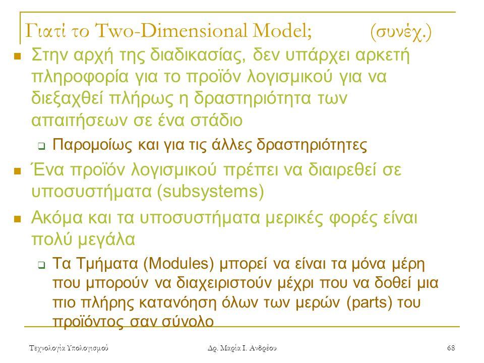 Τεχνολογία Υπολογισμού Δρ. Μαρία Ι. Ανδρέου 68 Γιατί το Two-Dimensional Model; (συνέχ.) Στην αρχή της διαδικασίας, δεν υπάρχει αρκετή πληροφορία για τ