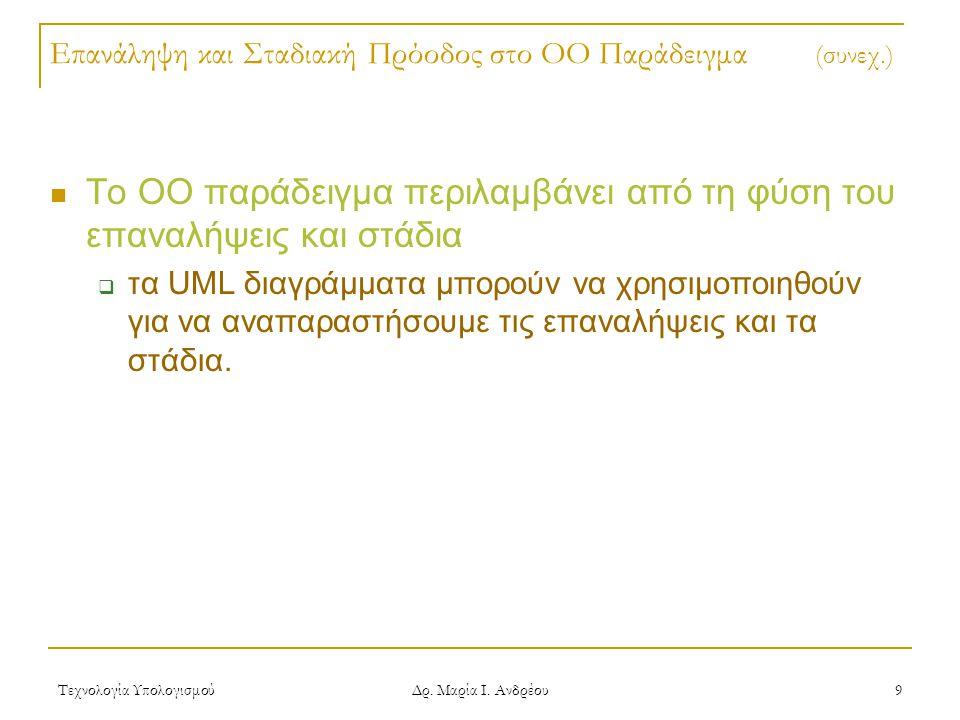 Τεχνολογία Υπολογισμού Δρ. Μαρία Ι. Ανδρέου 9 Επανάληψη και Σταδιακή Πρόοδος στο OO Παράδειγμα (συνεχ.) Το ΟΟ παράδειγμα περιλαμβάνει από τη φύση του