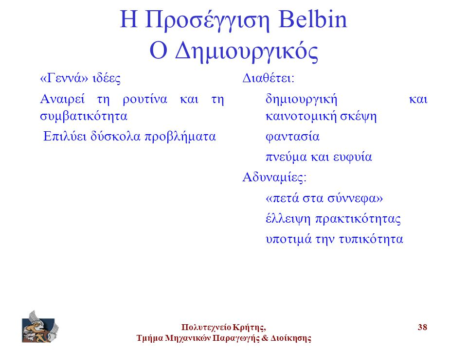 Πολυτεχνείο Κρήτης, Τμήμα Μηχανικών Παραγωγής & Διοίκησης 38 Η Προσέγγιση Belbin Ο Δημιουργικός «Γεννά» ιδέες Αναιρεί τη ρουτίνα και τη συμβατικότητα