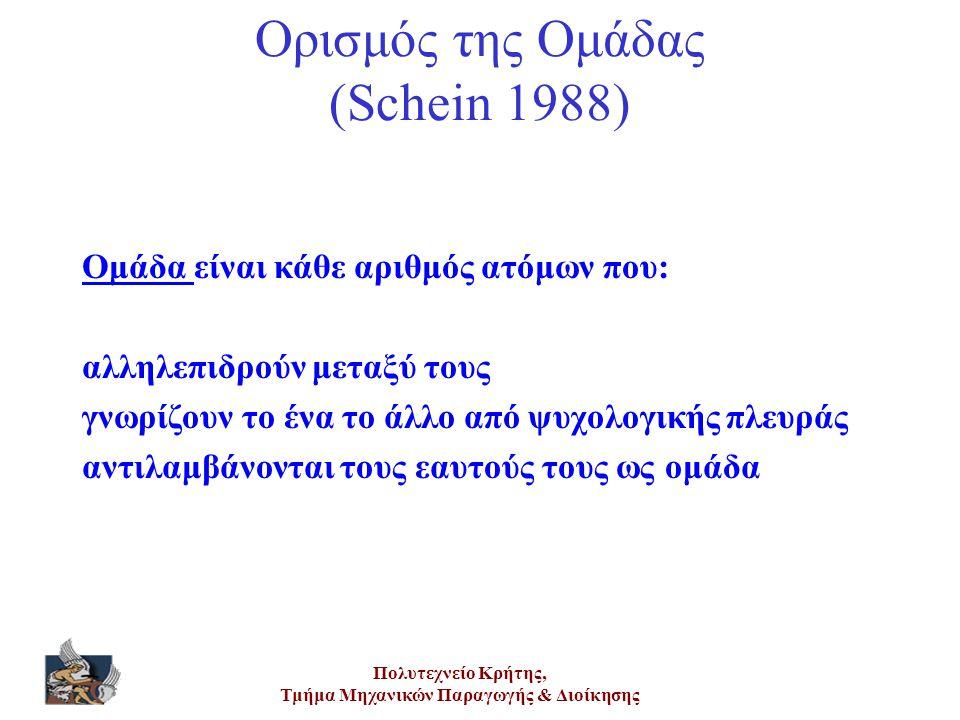 Πολυτεχνείο Κρήτης, Τμήμα Μηχανικών Παραγωγής & Διοίκησης Ορισμός της Ομάδας (Schein 1988) Ομάδα είναι κάθε αριθμός ατόμων που: αλληλεπιδρούν μεταξύ τ