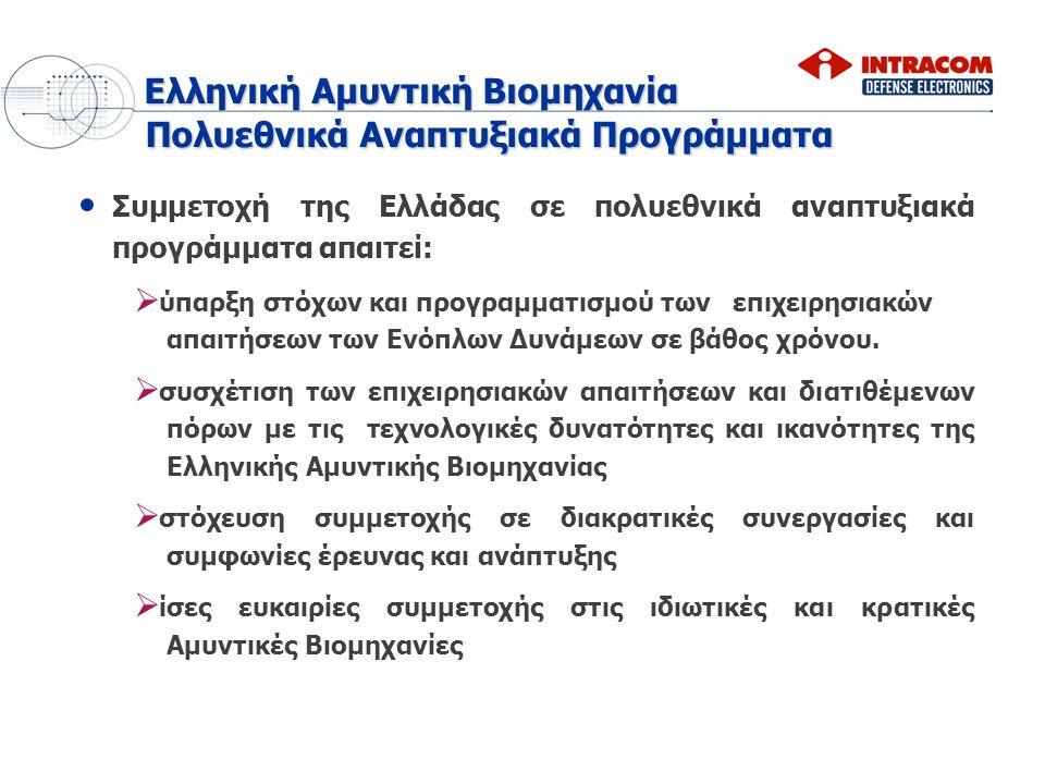 Συμμετοχή της Ελλάδας σε πολυεθνικά αναπτυξιακά προγράμματα απαιτεί:   ύπαρξη στόχων και προγραμματισμού των επιχειρησιακών απαιτήσεων των Ενόπλων Δ