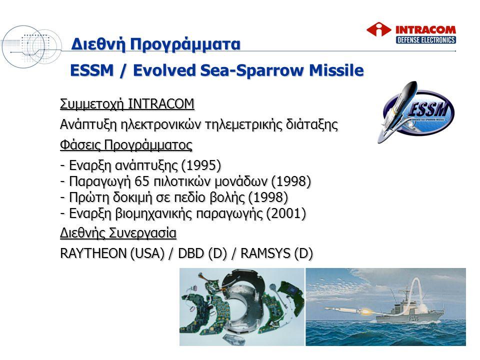 ESSM / Evolved Sea-Sparrow Missile Φάσεις Προγράμματος - Εναρξη ανάπτυξης (1995) - Παραγωγή 65 πιλοτικών μονάδων (1998) - Πρώτη δοκιμή σε πεδίο βολής (1998) - Εναρξη βιομηχανικής παραγωγής (2001) Διεθνής Συνεργασία RAYTHEON (USA) / DBD (D) / RAMSYS (D) Συμμετοχή INTRACOM Ανάπτυξη ηλεκτρονικών τηλεμετρικής διάταξης Διεθνή Προγράμματα