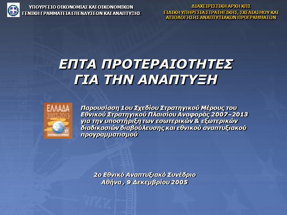 ΕΠΤΑ ΠΡΟΤΕΡΑΙΟΤΗΤΕΣ ΓΙΑ ΤΗΝ ΑΝΑΠΤΥΞΗ 2ο Εθνικό Αναπτυξιακό Συνέδριο Αθήνα, 9 Δεκεμβρίου 2005 2ο Εθνικό Αναπτυξιακό Συνέδριο Αθήνα, 9 Δεκεμβρίου 2005 ΥΠΟΥΡΓΕΙΟ ΟΙΚΟΝΟΜΙΑΣ ΚΑΙ ΟΙΚΟΝΟΜΙΚΩΝ ΓΕΝΙΚΗ ΓΡΑΜΜΑΤΕΙΑ ΕΠΕΝΔΥΣΕΩΝ ΚΑΙ ΑΝΑΠΤΥΞΗΣ ΥΠΟΥΡΓΕΙΟ ΟΙΚΟΝΟΜΙΑΣ ΚΑΙ ΟΙΚΟΝΟΜΙΚΩΝ ΓΕΝΙΚΗ ΓΡΑΜΜΑΤΕΙΑ ΕΠΕΝΔΥΣΕΩΝ ΚΑΙ ΑΝΑΠΤΥΞΗΣ ΔΙΑΧΕΙΡΙΣΤΙΚΗ ΑΡΧΗ ΚΠΣ ΕΙΔΙΚΗ ΥΠΗΡΕΣΙΑ ΣΤΡΑΤΗΓΙΚΗΣ, ΣΧΕΔΙΑΣΜΟΥ ΚΑΙ ΑΞΙΟΛΟΓΗΣΗΣ ΑΝΑΠΤΥΞΙΑΚΩΝ ΠΡΟΓΡΑΜΜΑΤΩΝ ΔΙΑΧΕΙΡΙΣΤΙΚΗ ΑΡΧΗ ΚΠΣ ΕΙΔΙΚΗ ΥΠΗΡΕΣΙΑ ΣΤΡΑΤΗΓΙΚΗΣ, ΣΧΕΔΙΑΣΜΟΥ ΚΑΙ ΑΞΙΟΛΟΓΗΣΗΣ ΑΝΑΠΤΥΞΙΑΚΩΝ ΠΡΟΓΡΑΜΜΑΤΩΝ Παρουσίαση 1ου Σχεδίου Στρατηγικού Μέρους του Εθνικού Στρατηγικού Πλαισίου Αναφοράς 2007–2013 για την υποστήριξη των εσωτερικών & εξωτερικών διαδικασιών διαβούλευσης και εθνικού αναπτυξιακού προγραμματισμού