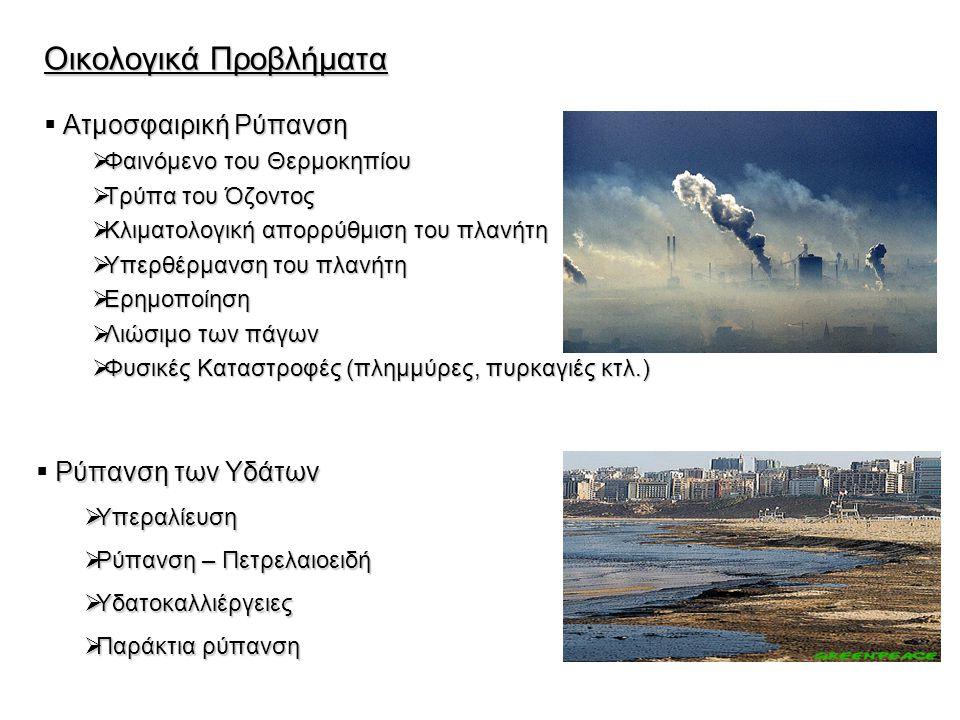 Οικολογικά Προβλήματα Ατμοσφαιρική Ρύπανση  Ατμοσφαιρική Ρύπανση  Φαινόμενο του Θερμοκηπίου  Τρύπα του Όζοντος  Κλιματολογική απορρύθμιση του πλαν