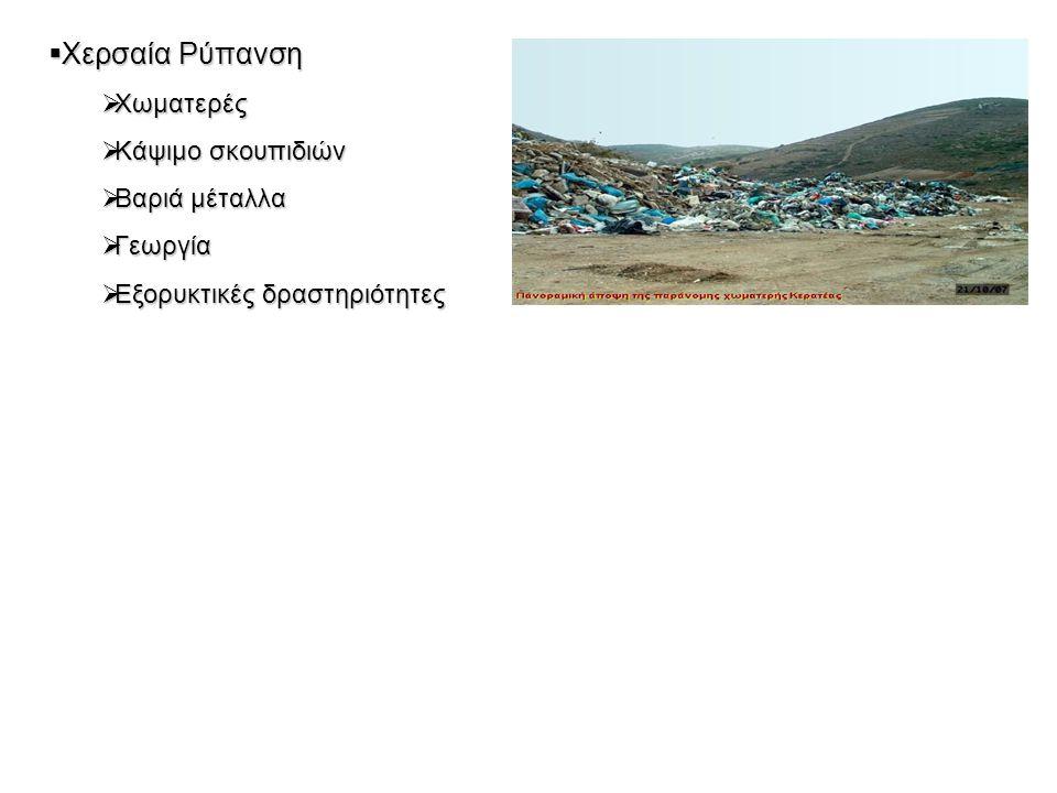  Χερσαία Ρύπανση  Χωματερές  Κάψιμο σκουπιδιών  Βαριά μέταλλα  Γεωργία  Εξορυκτικές δραστηριότητες