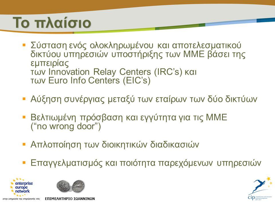  Σύσταση ενός ολοκληρωμένου και αποτελεσματικού δικτύου υπηρεσιών υποστήριξης των ΜΜΕ βάσει της εμπειρίας των Innovation Relay Centers (IRC's) και τω