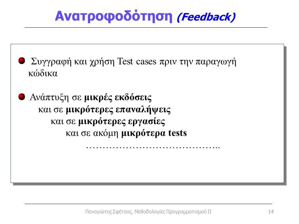 Ανατροφοδότηση (Feedback) Παναγιώτης Σφέτσος, Μεθοδολογίες Προγραμματισμού II14 Συγγραφή και χρήση Test cases πριν την παραγωγή κώδικα Ανάπτυξη σε μικ