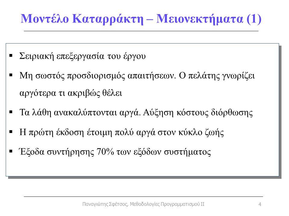 Μοντέλο Καταρράκτη – Μειονεκτήματα (1) Παναγιώτης Σφέτσος, Μεθοδολογίες Προγραμματισμού II 4  Σειριακή επεξεργασία του έργου  Μη σωστός προσδιορισμό