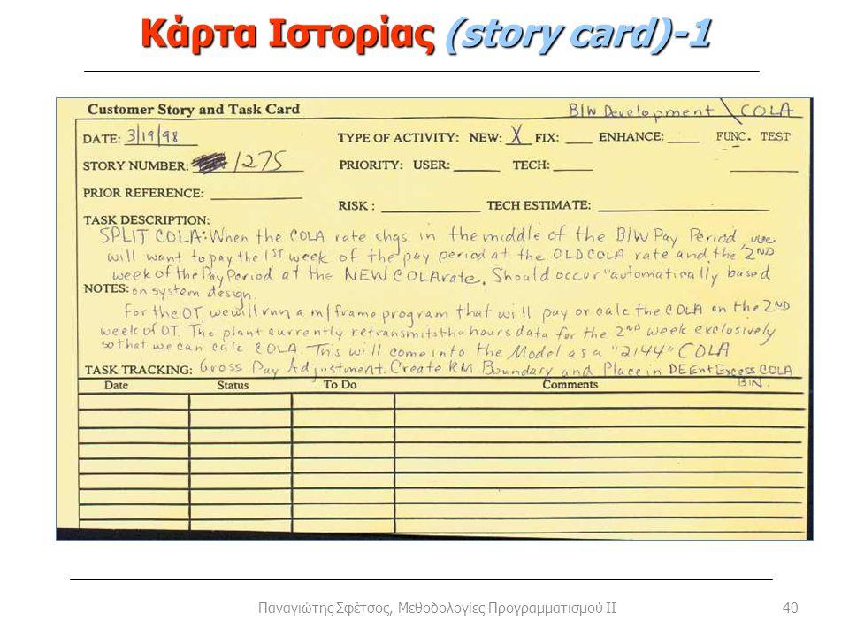 Κάρτα Ιστορίας (story card)-1 40Παναγιώτης Σφέτσος, Μεθοδολογίες Προγραμματισμού II