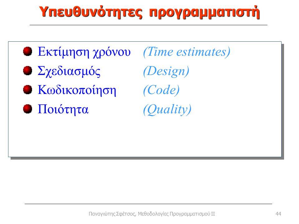 Υπευθυνότητες προγραμματιστή 44Παναγιώτης Σφέτσος, Μεθοδολογίες Προγραμματισμού II Εκτίμηση χρόνου(Time estimates) Σχεδιασμός (Design) Κωδικοποίηση(Co