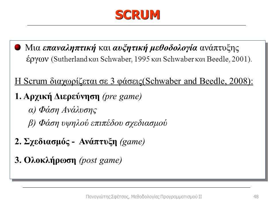 SCRUM 48Παναγιώτης Σφέτσος, Μεθοδολογίες Προγραμματισμού II Μια επαναληπτική και αυξητική μεθοδολογία ανάπτυξης έργων (Sutherland και Schwaber, 1995 κ