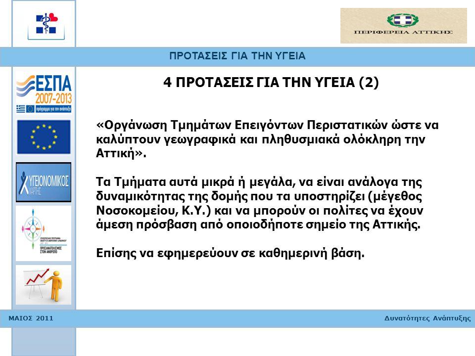ΠΡΟΤΑΣΕΙΣ ΓΙΑ ΤΗΝ ΥΓΕΙΑ ΜΑΙΟΣ 2011 Δυνατότητες Ανάπτυξης «Οργάνωση Τμημάτων Επειγόντων Περιστατικών ώστε να καλύπτουν γεωγραφικά και πληθυσμιακά ολόκλ