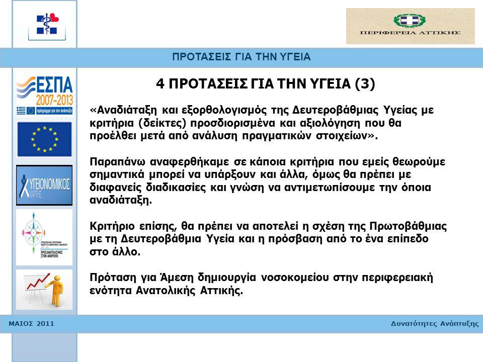 ΠΡΟΤΑΣΕΙΣ ΓΙΑ ΤΗΝ ΥΓΕΙΑ ΜΑΙΟΣ 2011 Δυνατότητες Ανάπτυξης «Αναδιάταξη και εξορθολογισμός της Δευτεροβάθμιας Υγείας με κριτήρια (δείκτες) προσδιορισμένα και αξιολόγηση που θα προέλθει μετά από ανάλυση πραγματικών στοιχείων».