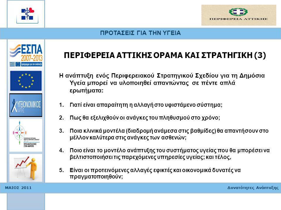 ΠΡΟΤΑΣΕΙΣ ΓΙΑ ΤΗΝ ΥΓΕΙΑ ΜΑΙΟΣ 2011 Δυνατότητες Ανάπτυξης ΔΕΙΚΤΕΣ ΑΞΙΟΛΟΓΗΣΗΣ ΜΟΝΑΔΩΝ ΥΓΕΙΑΣ (1) Στοιχεία που πρέπει να λάβουμε υπόψη μας για την αναδιάταξη και τον εξορθολογισμό των Μονάδων Υγείας: (1) Χωροταξικά: η τοποθέτηση των Μονάδων Υγείας πρέπει να καλύπτει σε ότι αφορά την απόσταση όλες τις ζητούμενες υπηρεσίες υγείας Πληθυσμός αναφοράς: αποτελεί το σύνολο των κατοίκων ή επισκεπτών της περιοχής αλλά και άλλων περιοχών όταν ζητούν εξειδικευμένες υπηρεσίες Επιδημιολογικά δεδομένα: στοιχεία που η αξιοποίηση τους μπορεί να προσδιορίσει τα χαρακτηριστικά των Μονάδων Υγείας που χρειάζεται να αναπτυχθούν