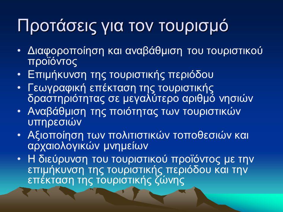 Προτάσεις για τον τουρισμό Διαφοροποίηση και αναβάθμιση του τουριστικού προϊόντος Επιμήκυνση της τουριστικής περιόδου Γεωγραφική επέκταση της τουριστι
