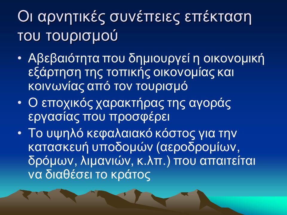 Οι αρνητικές συνέπειες επέκταση του τουρισμού Αβεβαιότητα που δημιουργεί η οικονομική εξάρτηση της τοπικής οικονομίας και κοινωνίας από τον τουρισμό Ο