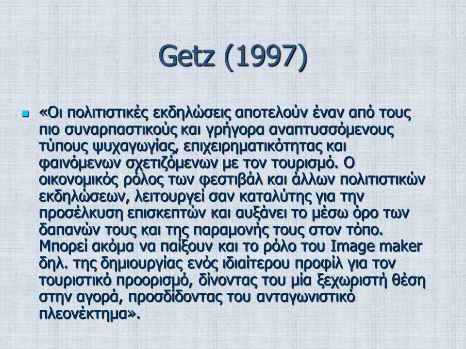 Getz (1997) «Oι πολιτιστικές εκδηλώσεις αποτελούν έναν από τους πιο συναρπαστικούς και γρήγορα αναπτυσσόμενους τύπους ψυχαγωγίας, επιχειρηματικότητας και φαινόμενων σχετιζόμενων με τον τουρισμό.