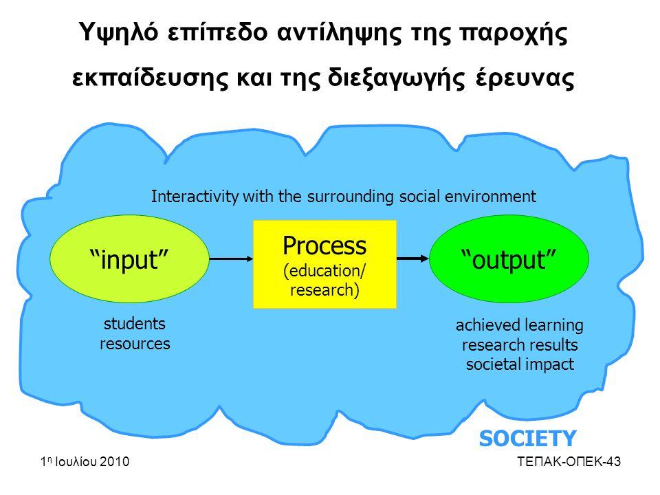 1 η Ιουλίου 2010ΤΕΠΑΚ-ΟΠΕΚ-43 Υψηλό επίπεδο αντίληψης της παροχής εκπαίδευσης και της διεξαγωγής έρευνας SOCIETY input output Process (education/ research) students resources achieved learning research results societal impact Interactivity with the surrounding social environment