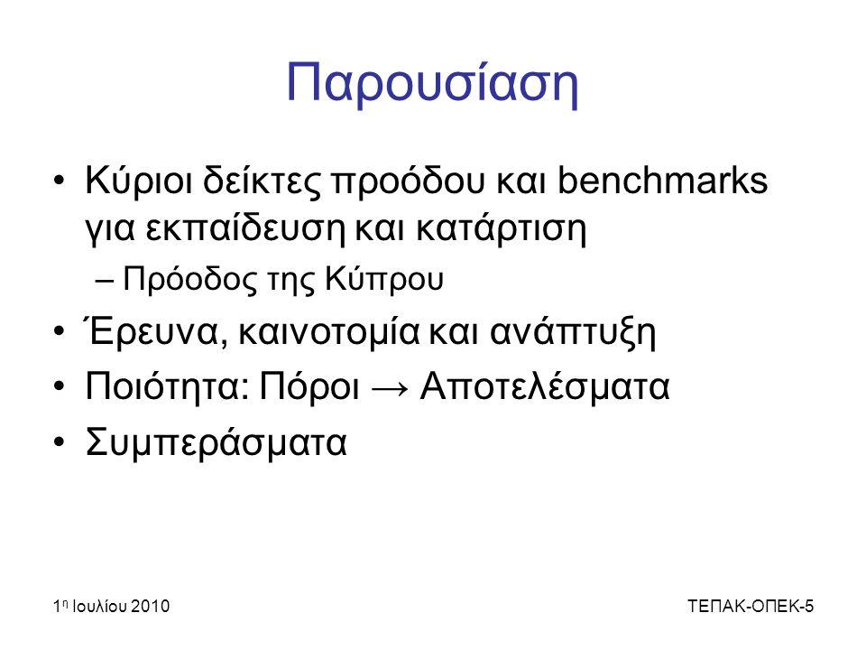 1 η Ιουλίου 2010ΤΕΠΑΚ-ΟΠΕΚ-5 Παρουσίαση Κύριοι δείκτες προόδου και benchmarks για εκπαίδευση και κατάρτιση –Πρόοδος της Κύπρου Έρευνα, καινοτομία και ανάπτυξη Ποιότητα: Πόροι → Αποτελέσματα Συμπεράσματα