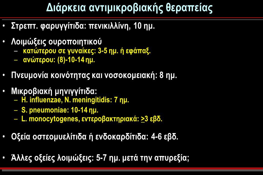 Διάρκεια αντιμικροβιακής θεραπείας Στρεπτ.φαρυγγίτιδα: πενικιλλίνη, 10 ημ.