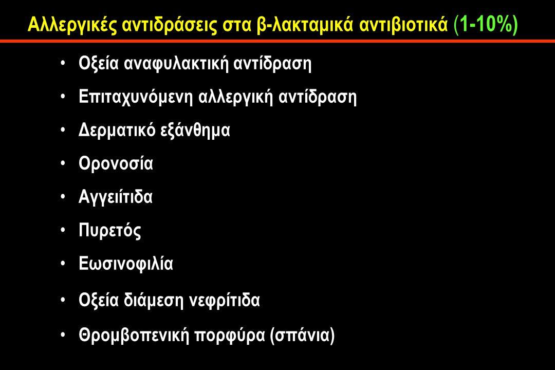 Αλλεργικές αντιδράσεις στα β-λακταμικά αντιβιοτικά ( 1-10%) Οξεία αναφυλακτική αντίδραση Επιταχυνόμενη αλλεργική αντίδραση Δερματικό εξάνθημα Ορονοσία Αγγειίτιδα Πυρετός Εωσινοφιλία Οξεία διάμεση νεφρίτιδα Θρομβοπενική πορφύρα (σπάνια)