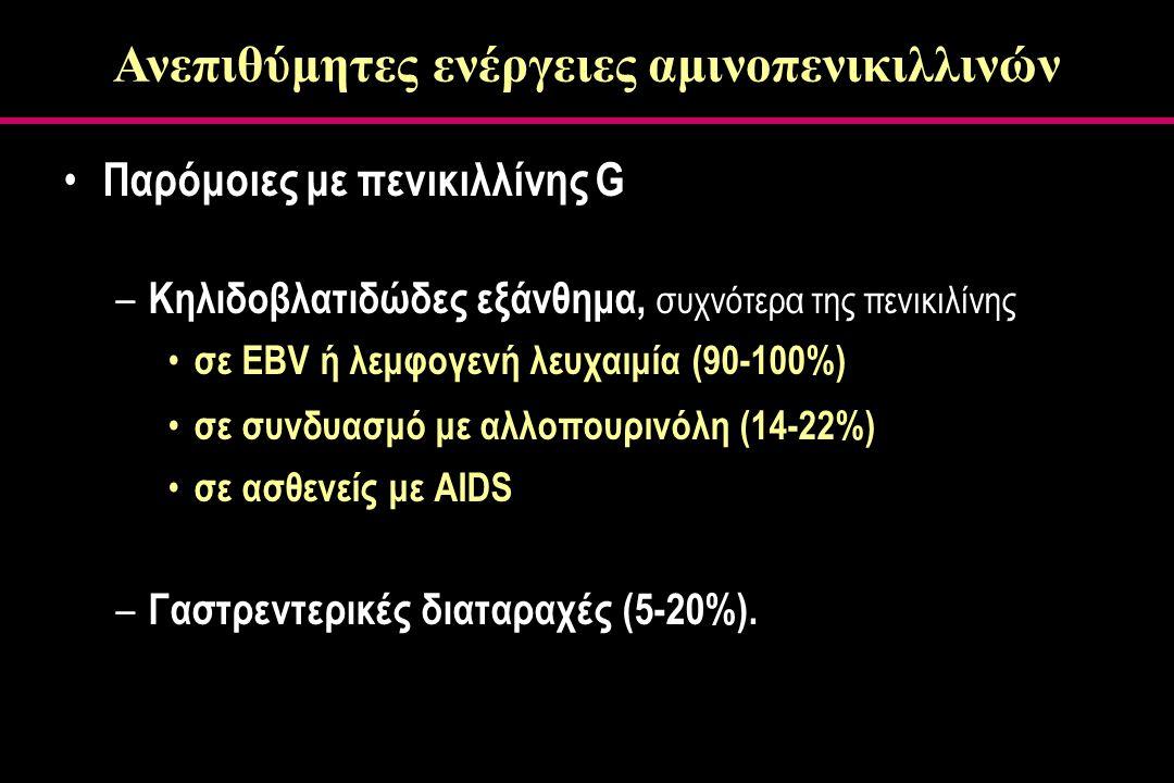 Παρόμοιες με πενικιλλίνης G – Κηλιδοβλατιδώδες εξάνθημα, συχνότερα της πενικιλίνης σε EBV ή λεμφογενή λευχαιμία (90-100%) σε συνδυασμό με αλλοπουρινόλη (14-22%) σε ασθενείς με AIDS – Γαστρεντερικές διαταραχές (5-20%).