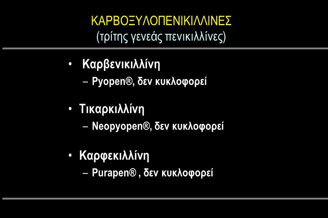 ΚΑΡΒΟΞΥΛΟΠΕΝΙΚΙΛΛΙΝΕΣ (τρίτης γενεάς πενικιλλίνες) Καρβενικιλλίνη – Pyopen®, δεν κυκλοφορεί Τικαρκιλλίνη – Neopyopen®, δεν κυκλοφορεί Καρφεκιλλίνη – Purapen®, δεν κυκλοφορεί