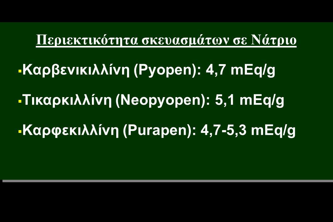 Περιεκτικότητα σκευασμάτων σε Νάτριο  Καρβενικιλλίνη (Pyopen): 4,7 mEq/g  Τικαρκιλλίνη (Neopyopen): 5,1 mEq/g  Καρφεκιλλίνη (Purapen): 4,7-5,3 mEq/g Περιεκτικότητα σκευασμάτων σε Νάτριο  Καρβενικιλλίνη (Pyopen): 4,7 mEq/g  Τικαρκιλλίνη (Neopyopen): 5,1 mEq/g  Καρφεκιλλίνη (Purapen): 4,7-5,3 mEq/g