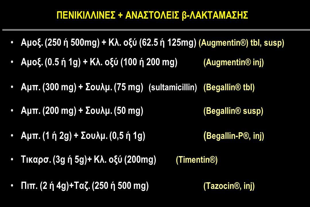 ΠΕΝΙΚΙΛΛΙΝΕΣ + ΑΝΑΣΤΟΛΕΙΣ β-ΛΑΚΤΑΜΑΣΗΣ Αμοξ.(250 ή 500mg) + Κλ.