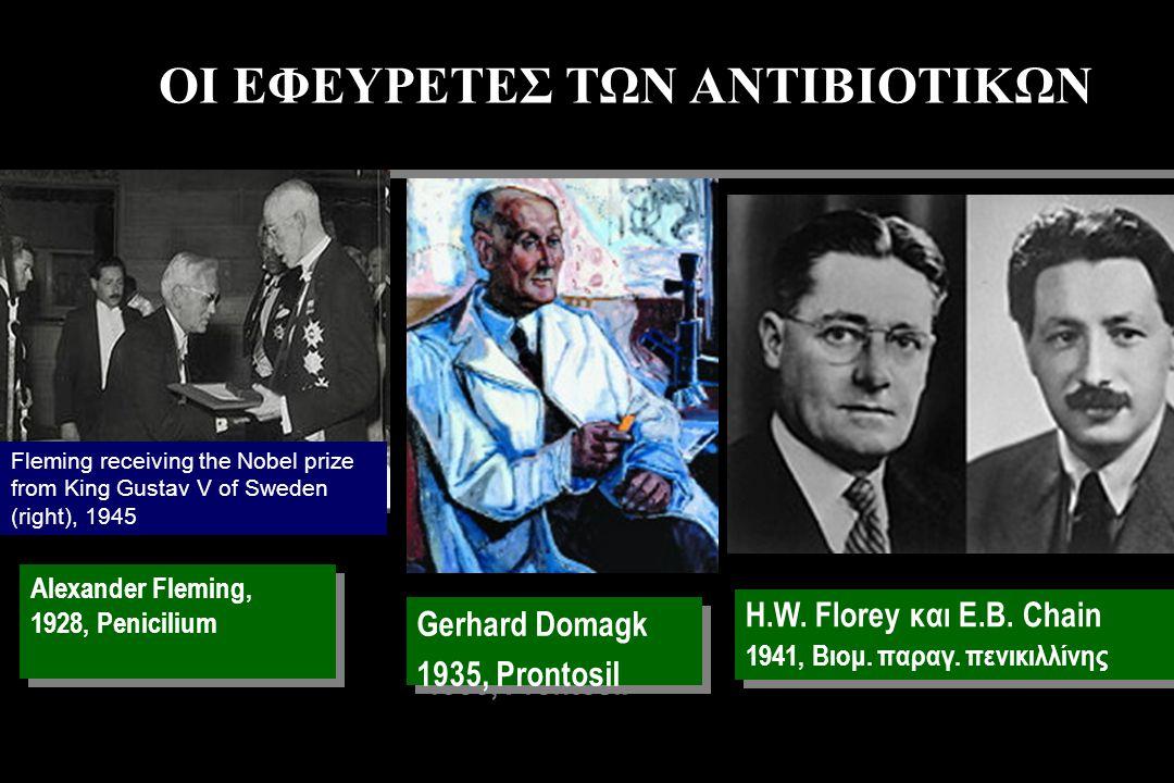 ΟΙ ΕΦΕΥΡΕΤΕΣ ΤΩΝ ΑΝΤΙΒΙΟΤΙΚΩΝ Alexander Fleming, 1928, Penicilium Alexander Fleming, 1928, Penicilium Gerhard Domagk 1935, Prontosil Gerhard Domagk 1935, Prontosil Η.W.