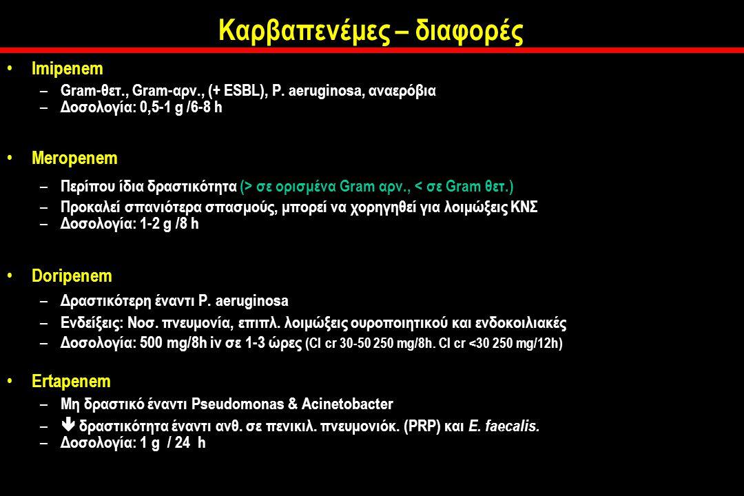 Καρβαπενέμες – διαφορές Imipenem – Gram-θετ., Gram-αρν., (+ ESBL), P.