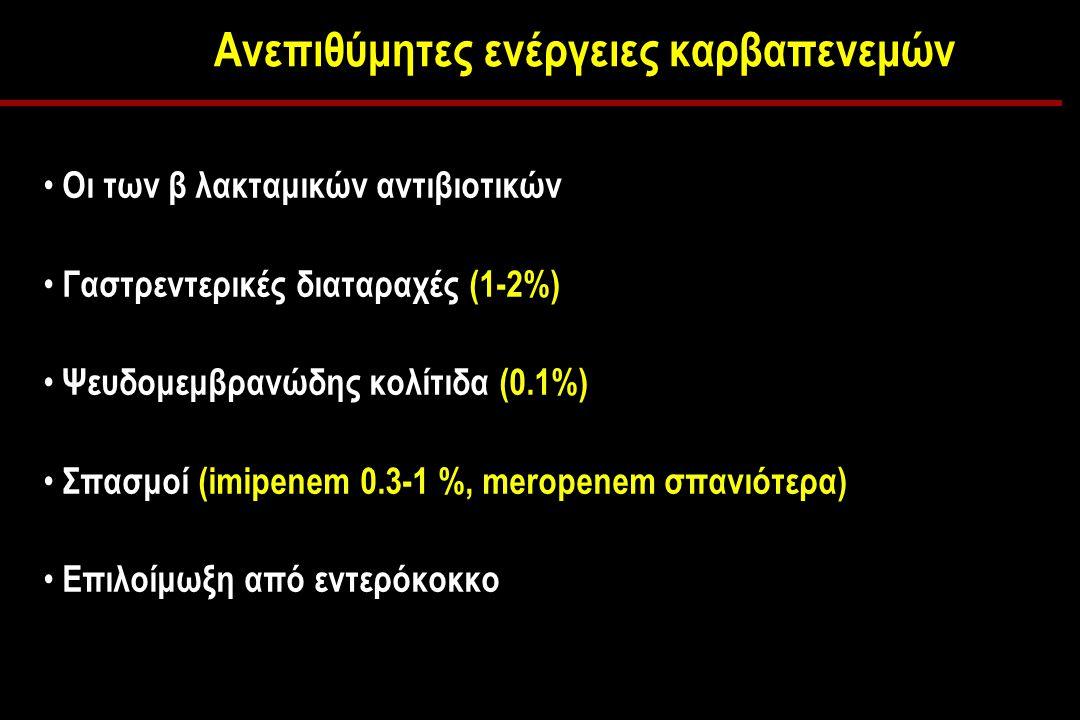 Ανεπιθύμητες ενέργειες καρβαπενεμών Οι των β λακταμικών αντιβιοτικών Γαστρεντερικές διαταραχές (1-2%) Ψευδομεμβρανώδης κολίτιδα (0.1%) Σπασμοί (imipenem 0.3-1 %, meropenem σπανιότερα) Επιλοίμωξη από εντερόκοκκο