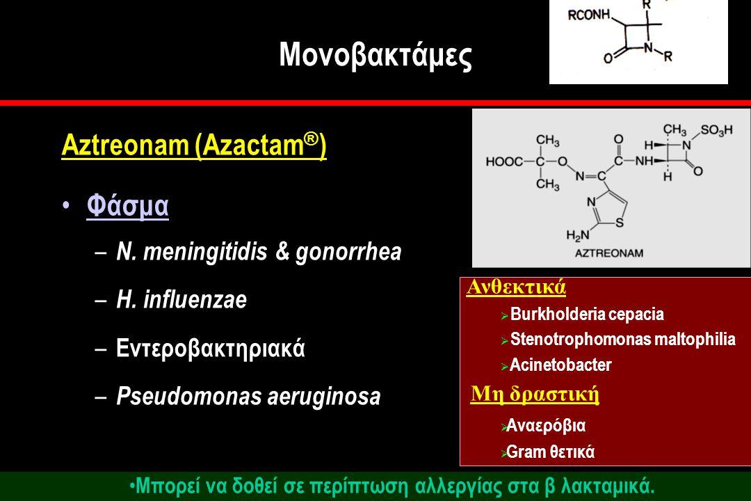 Μονοβακτάμες Aztreonam (Azactam ® ) Φάσμα – N.meningitidis & gonorrhea – H.