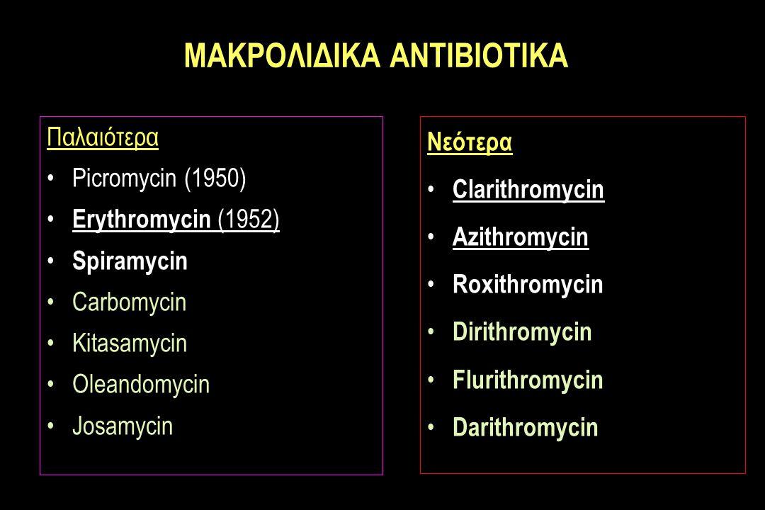 MΑΚΡΟΛΙΔΙΚΑ ΑΝΤΙΒΙΟΤΙΚΑ Παλαιότερα Picromycin (1950) Erythromycin (1952) Spiramycin Carbomycin Kitasamycin Oleandomycin Josamycin Νεότερα Clarithromycin Azithromycin Roxithromycin Dirithromycin Flurithromycin Darithromycin