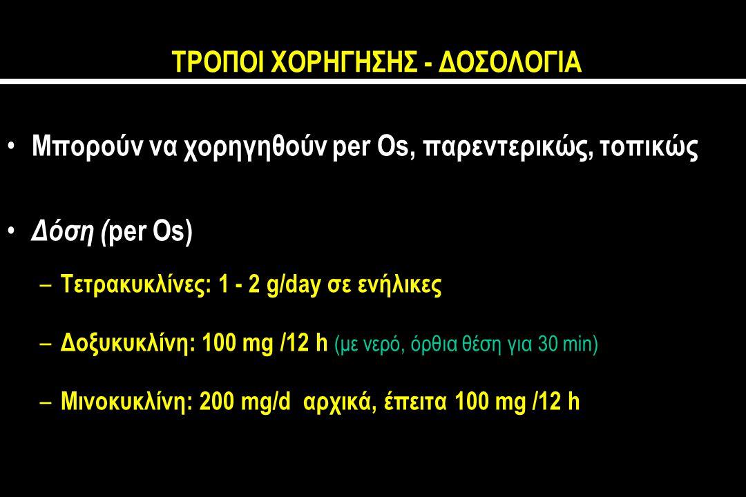 ΤΡΟΠΟΙ ΧΟΡΗΓΗΣΗΣ - ΔΟΣΟΛΟΓΙΑ Μπορούν να χορηγηθούν per Os, παρεντερικώς, τοπικώς Δόση ( per Os) – Τετρακυκλίνες: 1 - 2 g/day σε ενήλικες – Δοξυκυκλίνη: 100 mg /12 h (με νερό, όρθια θέση για 30 min) – Μινοκυκλίνη: 200 mg/d αρχικά, έπειτα 100 mg /12 h