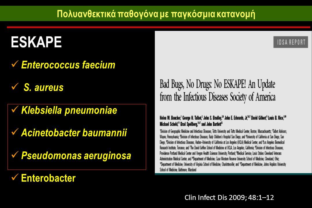 Πολυανθεκτικά παθογόνα με παγκόσμια κατανομή ESKAPE Enterococcus faecium S.