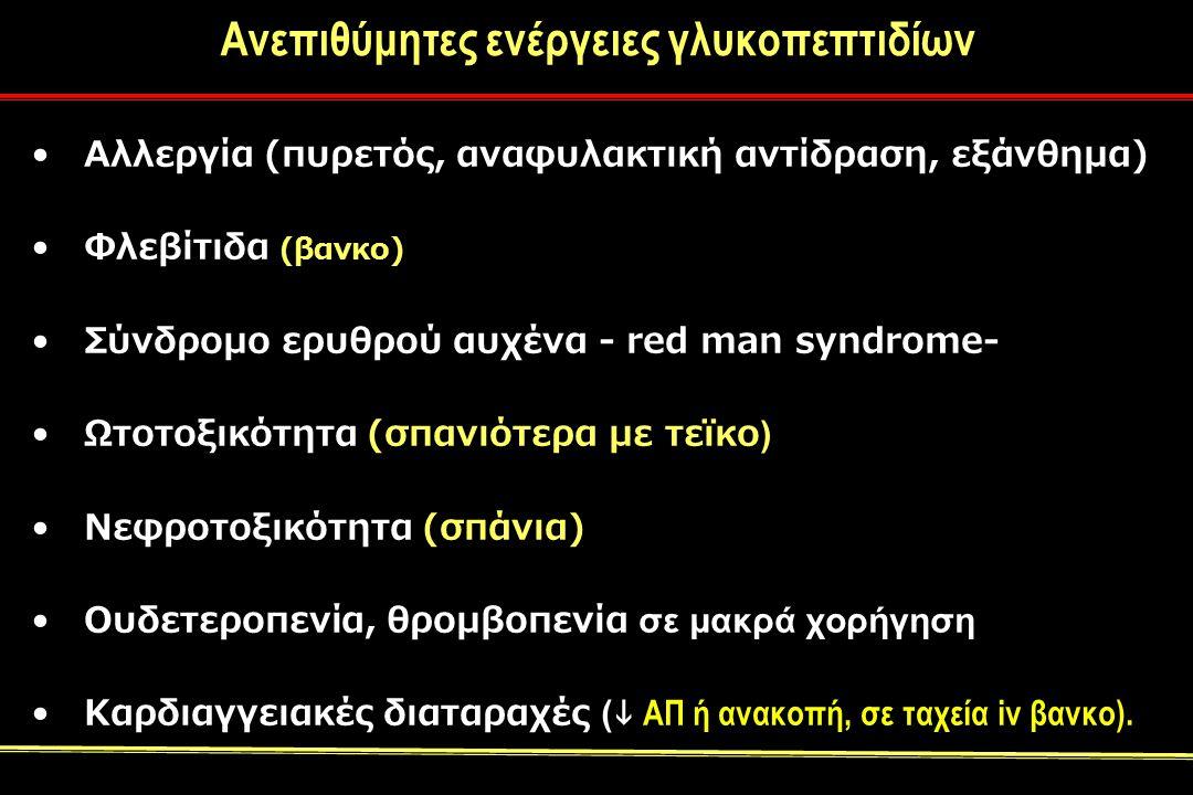 Ανεπιθύμητες ενέργειες γλυκοπεπτιδίων Αλλεργία (πυρετός, αναφυλακτική αντίδραση, εξάνθημα) Φλεβίτιδα (βανκο) Σύνδρομο ερυθρού αυχένα - red man syndrome- Ωτοτοξικότητα (σπανιότερα με τεϊκο ) Νεφροτοξικότητα (σπάνια) Ουδετεροπενία, θρομβοπενία σε μακρά χορήγηση Καρδιαγγειακές διαταραχές (  ΑΠ ή ανακοπή, σε ταχεία iv βανκο).