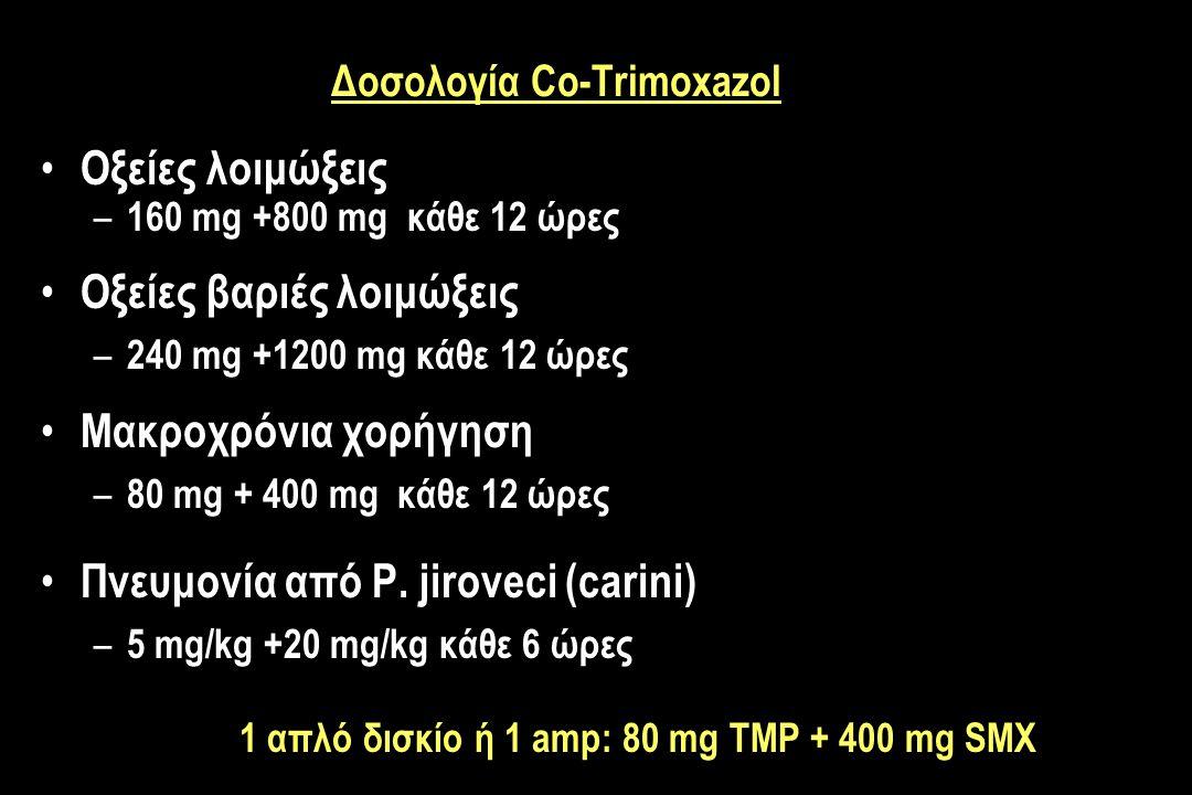 Δοσολογία Co-Trimoxazol Οξείες λοιμώξεις – 160 mg +800 mg κάθε 12 ώρες Οξείες βαριές λοιμώξεις – 240 mg +1200 mg κάθε 12 ώρες Μακροχρόνια χορήγηση – 80 mg + 400 mg κάθε 12 ώρες Πνευμονία από P.