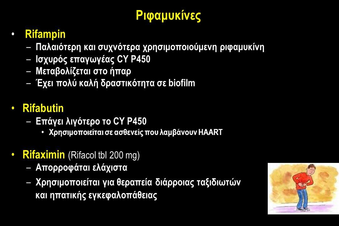 Ριφαμυκίνες Rifampin – Παλαιότερη και συχνότερα χρησιμοποιούμενη ριφαμυκίνη – Ισχυρός επαγωγέας CY P450 – Μεταβολίζεται στο ήπαρ – Έχει πολύ καλή δραστικότητα σε biofilm Rifabutin – Επάγει λιγότερο το CY P450 Χρησιμοποιείται σε ασθενείς που λαμβάνουν HAART Rifaximin (Rifacol tbl 200 mg) – Απορροφάται ελάχιστα – Χρησιμοποιείται για θεραπεία διάρροιας ταξιδιωτών και ηπατικής εγκεφαλοπάθειας