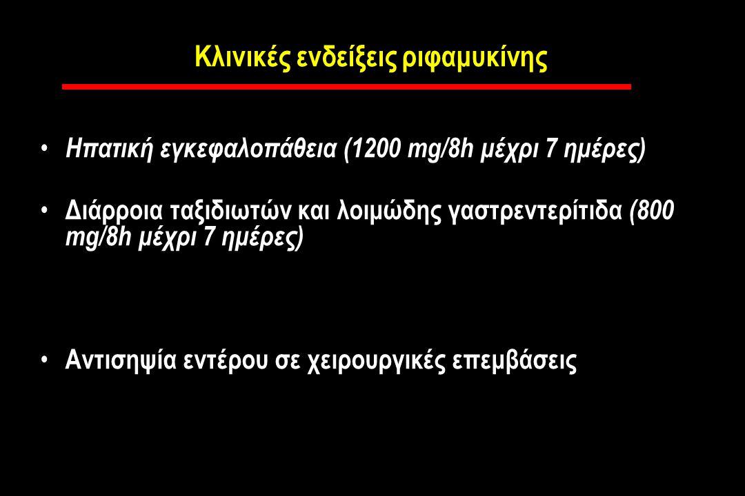 Κλινικές ενδείξεις ριφαμυκίνης Ηπατική εγκεφαλοπάθεια (1200 mg/8h μέχρι 7 ημέρες) Διάρροια ταξιδιωτών και λοιμώδης γαστρεντερίτιδα (800 mg/8h μέχρι 7 ημέρες) Αντισηψία εντέρου σε χειρουργικές επεμβάσεις