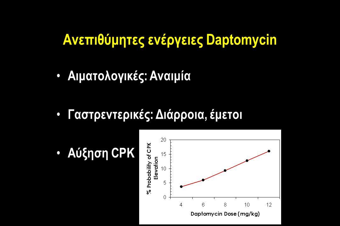 Ανεπιθύμητες ενέργειες Daptomycin Αιματολογικές: Αναιμία Γαστρεντερικές: Διάρροια, έμετοι Αύξηση CPK