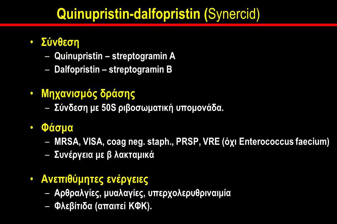 Quinupristin-dalfopristin ( Synercid) Σύνθεση – Quinupristin – streptogramin A – Dalfopristin – streptogramin B Μηχανισμός δράσης – Σύνδεση με 50S ριβοσωματική υπομονάδα.