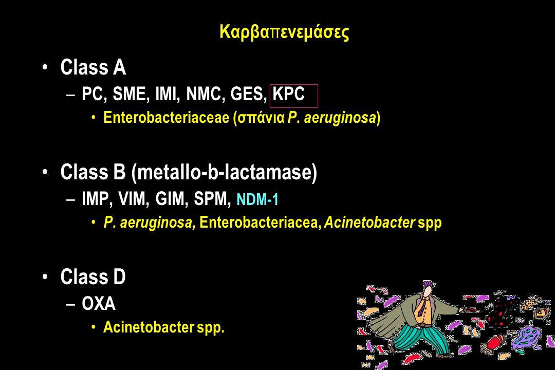 Καρβα π ενεμάσες Class A – PC, SME, IMI, NMC, GES, KPC Enterobacteriaceae (σπάνια P.